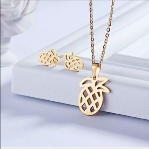 3 For $18  Gold Pineapple Earrings Necklace Set